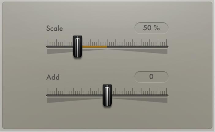 Figure. Velocity Processor Value/Range parameters.