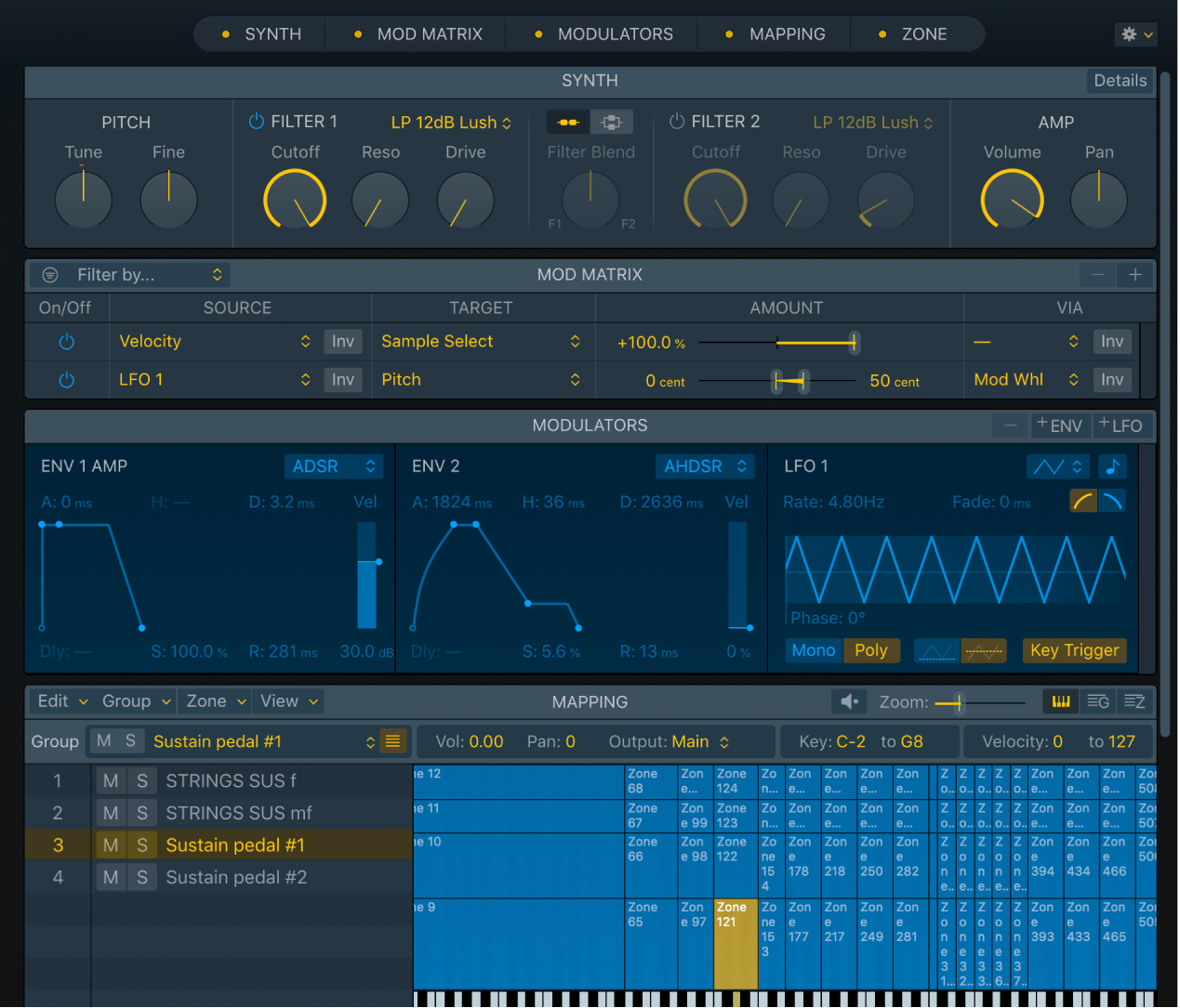 Figure. Sampler interface showing Synth, Mod Matrix, Modulators, and Mapping panes.