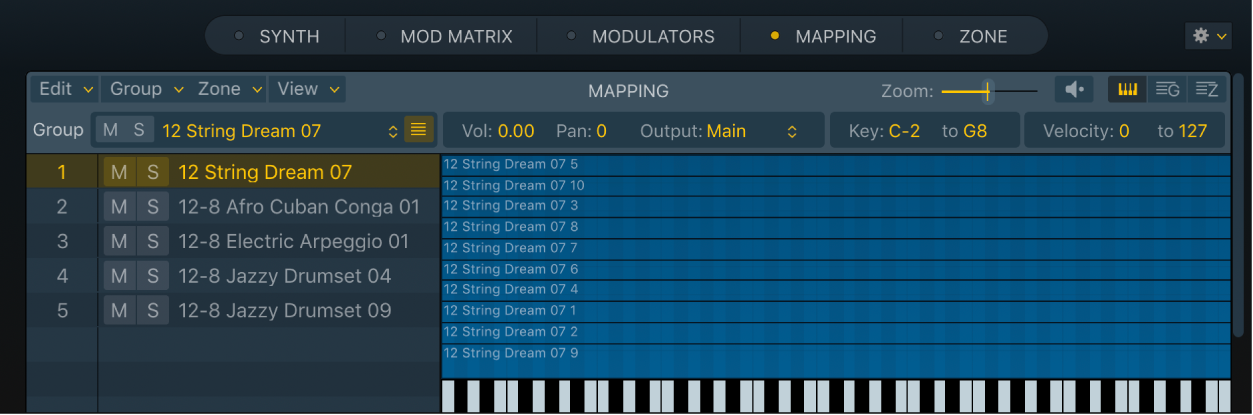 Figure. Key Mapping Editor showing multiple groups, created with an optimized zone per note drag and drop operation. The selected group shows several audio files.