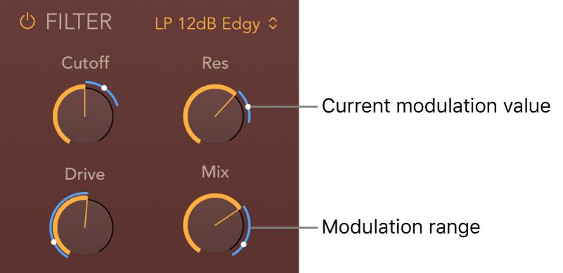 Figure. PhatFX Filter parameters showing blue modulation range and current modulation position indicators.