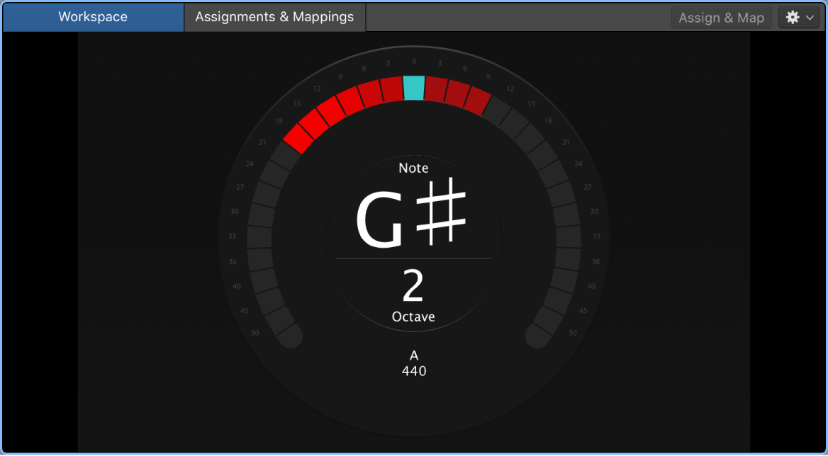 Figure. The Tuner, showing the note G in tune.