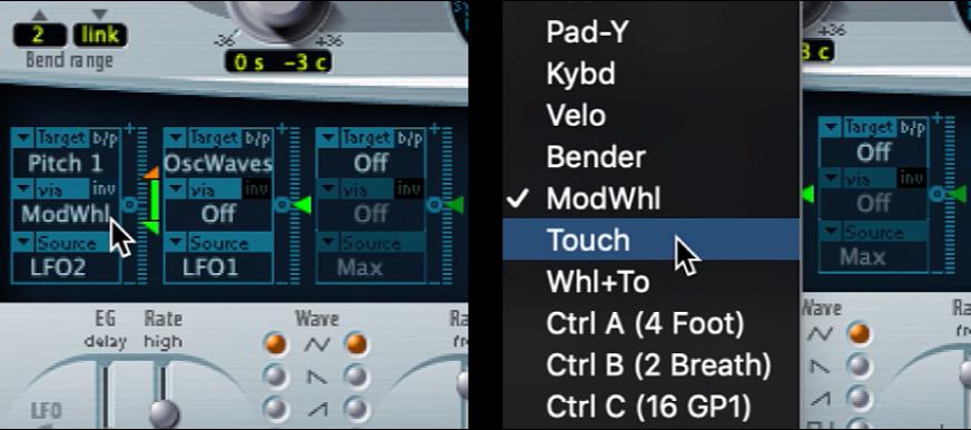 Figure. Via modulation source pop-up menu.