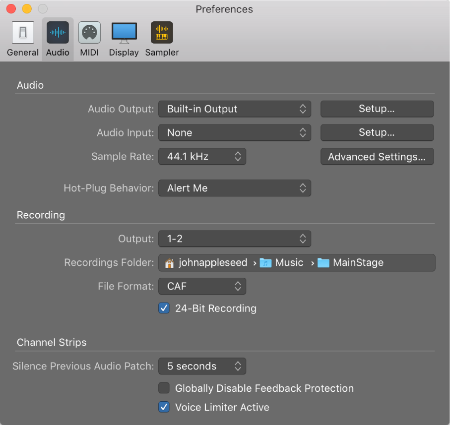 Figure. Audio preferences pane.