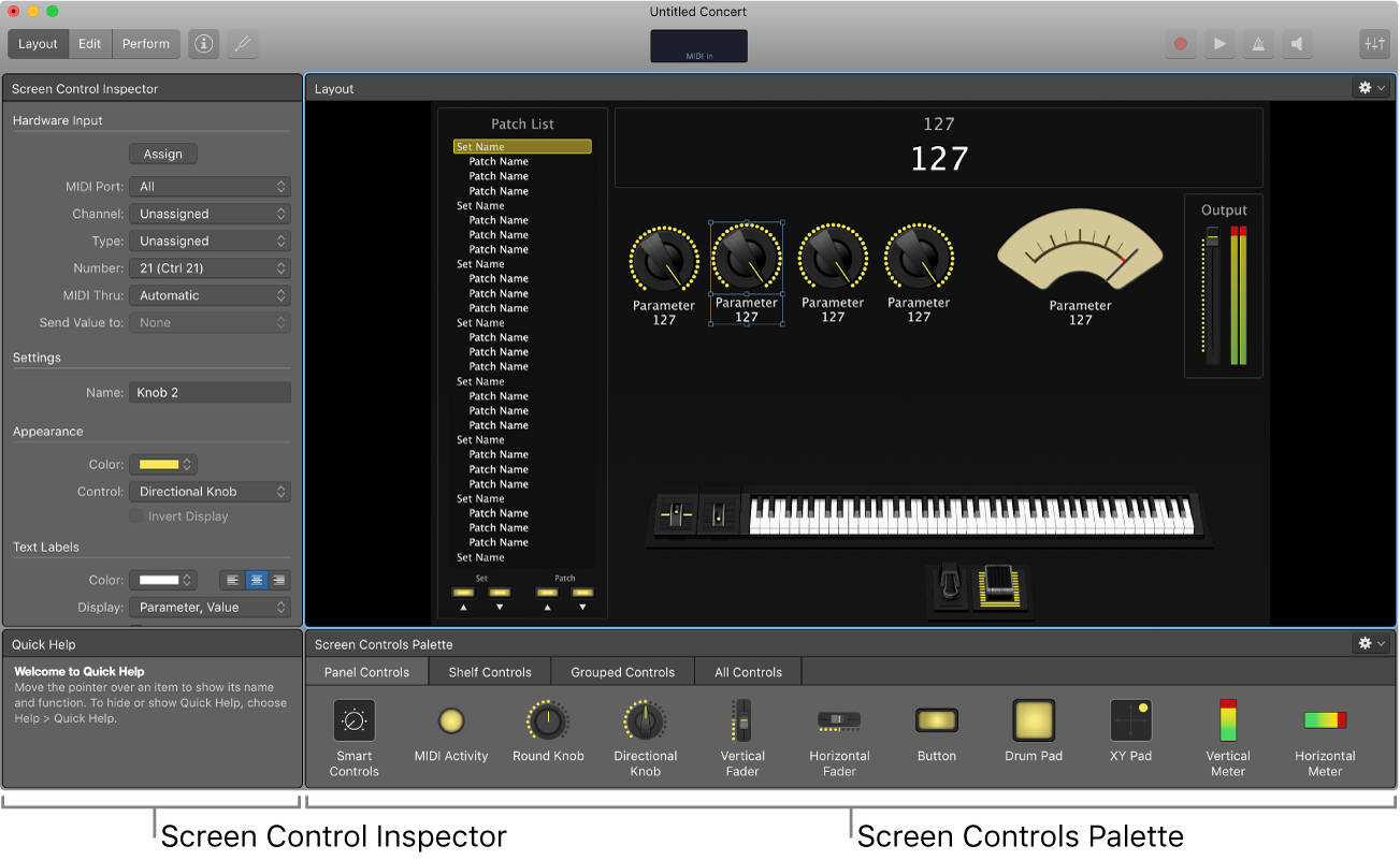 Layout Mode, showing the ScreenControl Inspector and ScreenControls Palette.
