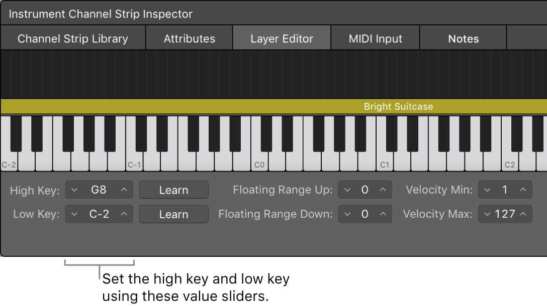Figure. Setting the key range for a channel strip using the Low Key and High Key value sliders.