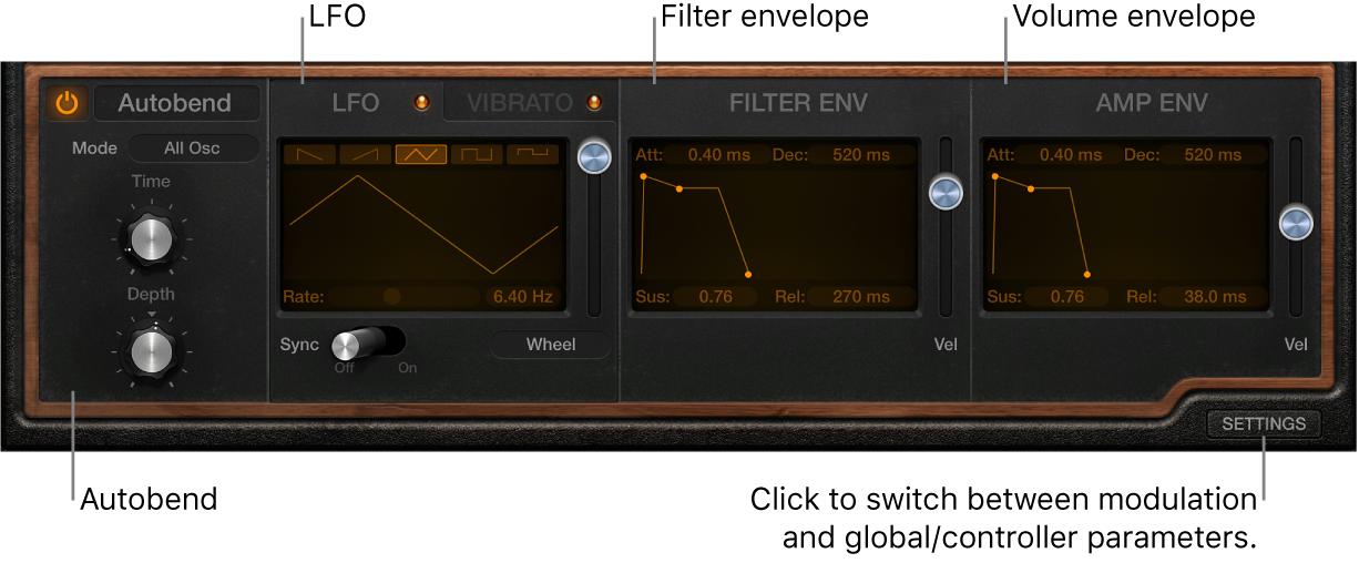 Figure. Retro Synth modulation parameters.