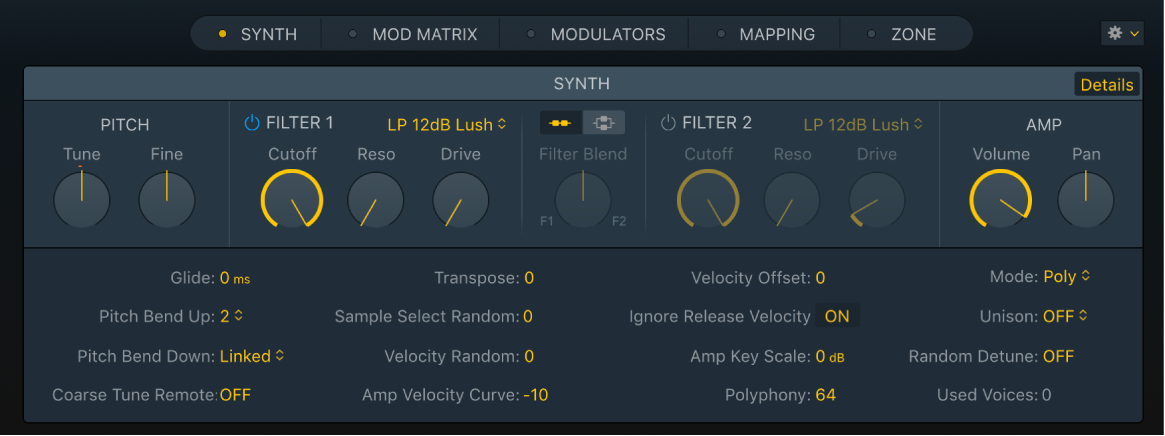 Figure, Sampler Synth Pane, with Details parameters also shown.