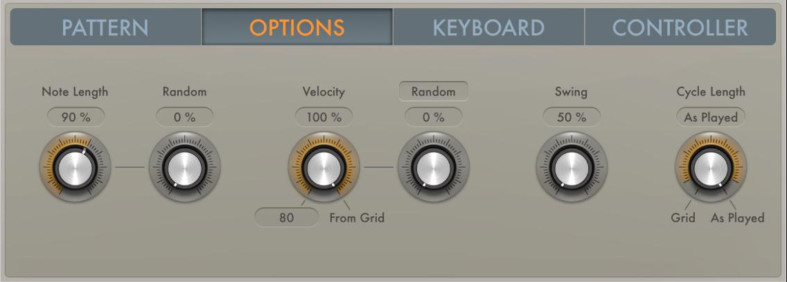 Figure. Arpeggiator Options parameters.