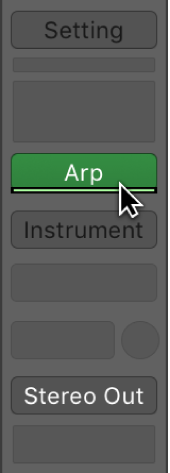 Figure. Pointing to the green line under a MIDI Effect slot.