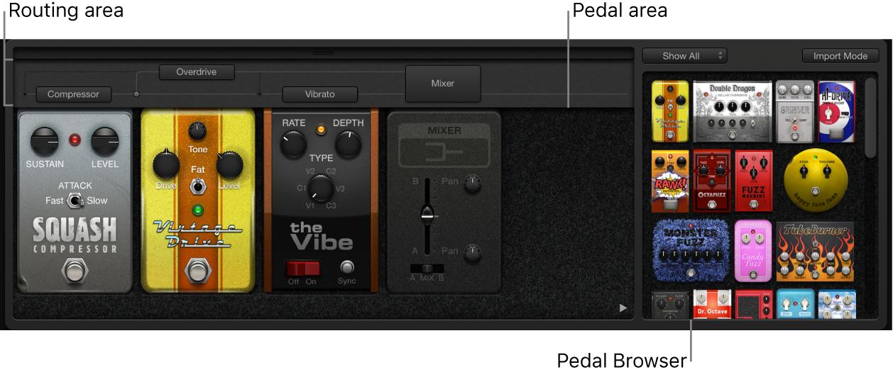Figure. Pedalboard window, showing main interface areas.