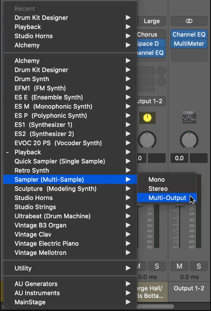 Figure. Plug-in menu showing Multi Output item in submenu.
