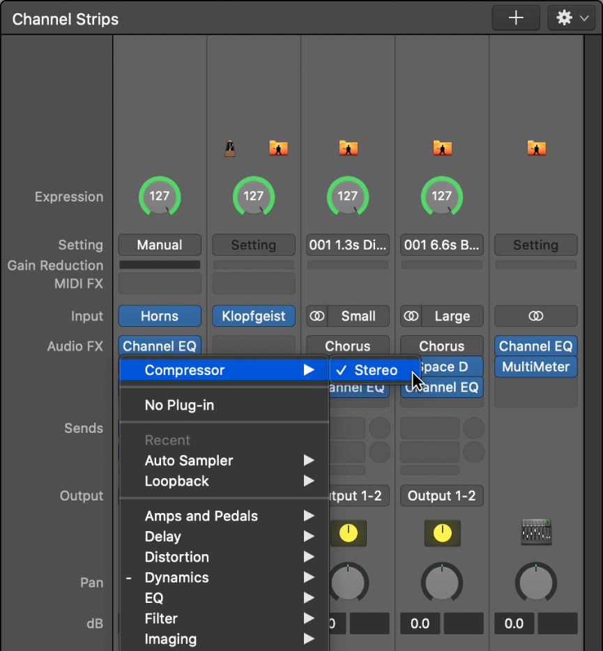 Figure. Audio Effect plug-in menu.