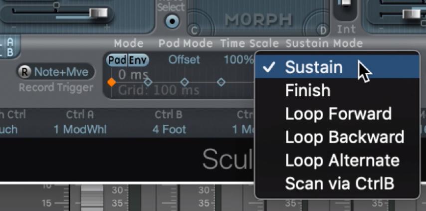 Figure. Morph Envelope Sustain or Loop Mode pop-up menu.