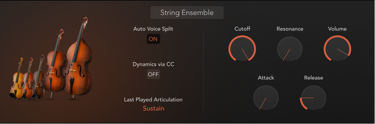 Figure. Studio Strings window, showing the String Ensemble section.