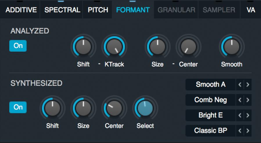 Figure. Formant filter parameters.