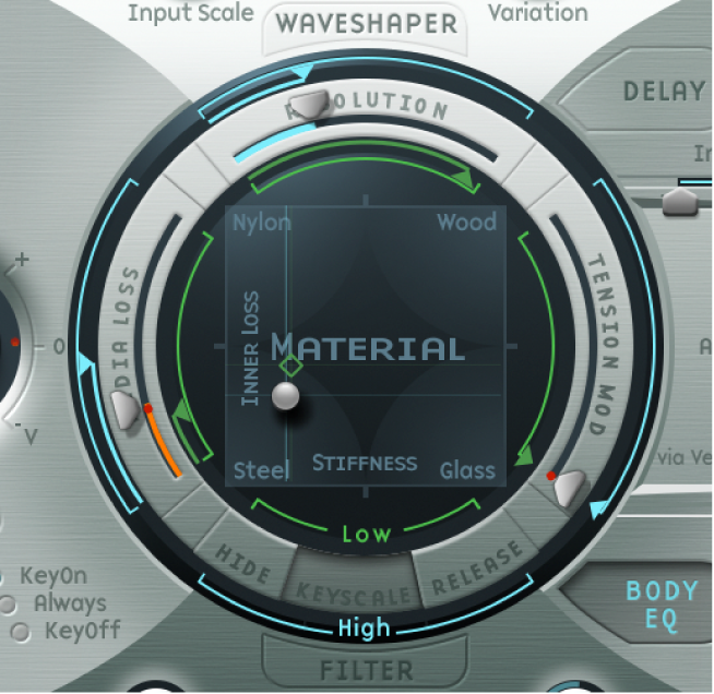 Figure. Material Pad, showing settings suitable for a slap bass.