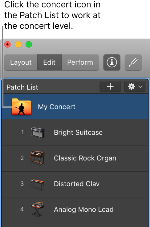 Figure. Selecting the concert icon in the PatchList.