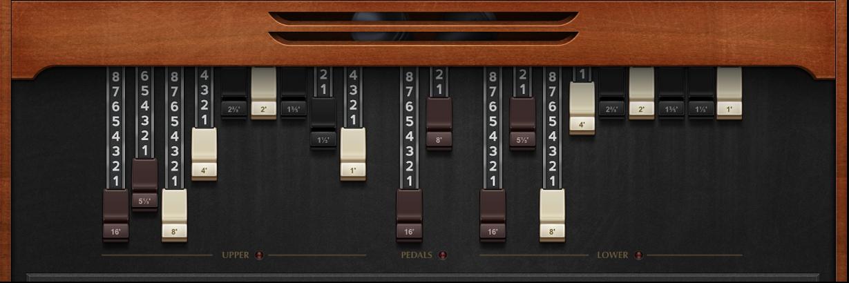 Figure. Vintage B3 Drawbar controls.