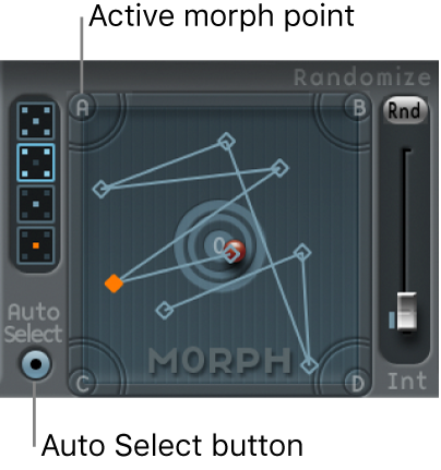 Figure. Morph Pad, showing active morph point and Auto Select button.