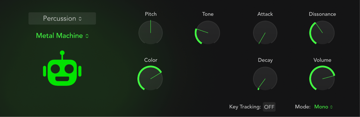 Figure. Drum Synth interface showing a percussion sound and associated parameters. Parameters change when a different percussion sound is chosen.