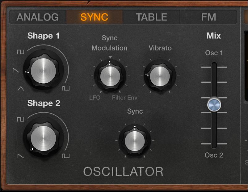 Figure. Retro Synth Sync oscillator parameters.
