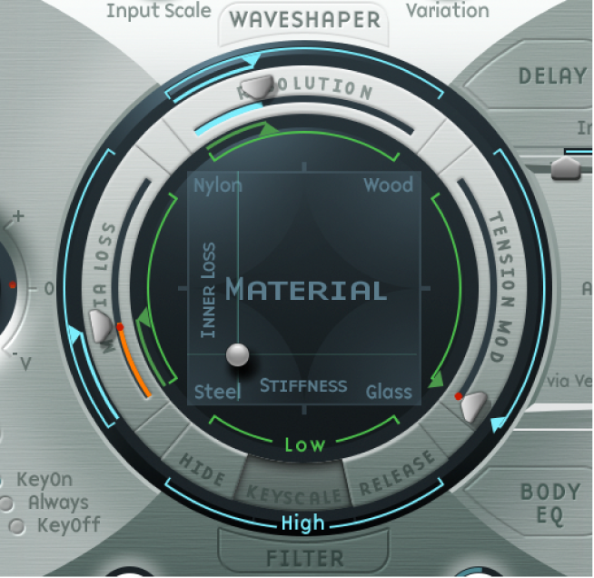 Figure. Material Pad, showing keyscale and resolution parameters.