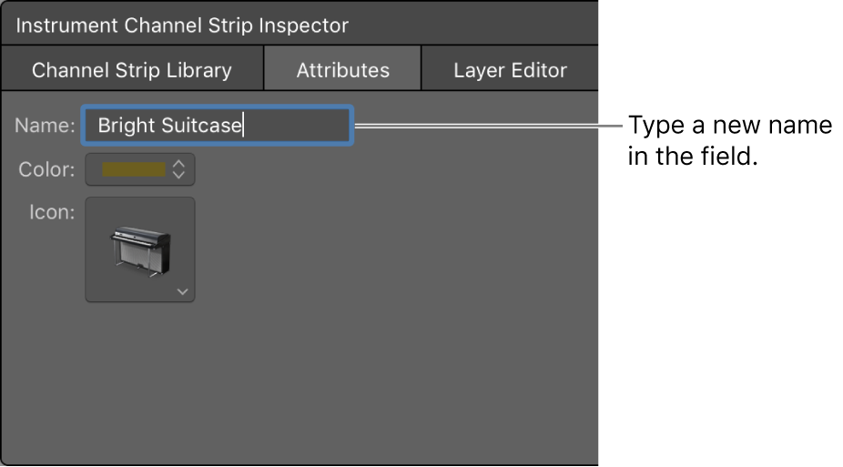 Figure. Channel Strip Inspector showing the Name field.