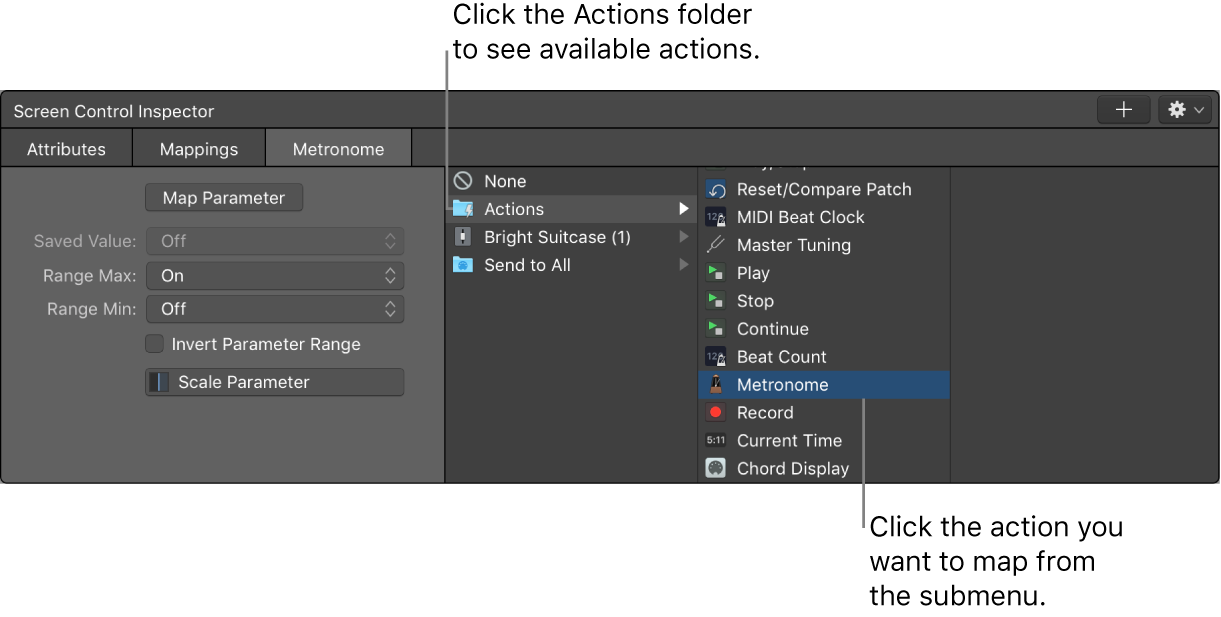 Figure. Mapping a screen control to an action in the Actions folder.