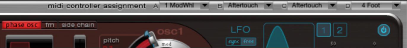 Figure. MIDI Controller Assignment area.