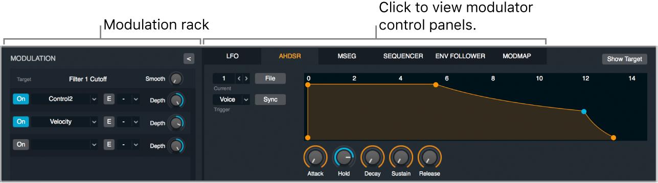 Figure. Modulation section, showing modulation rack, modulator control panel buttons, and AHDSR control panel.