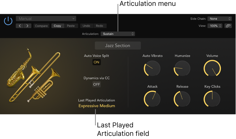 Figure. Software instrument showing Articulation menu and Last Played Articulation field.