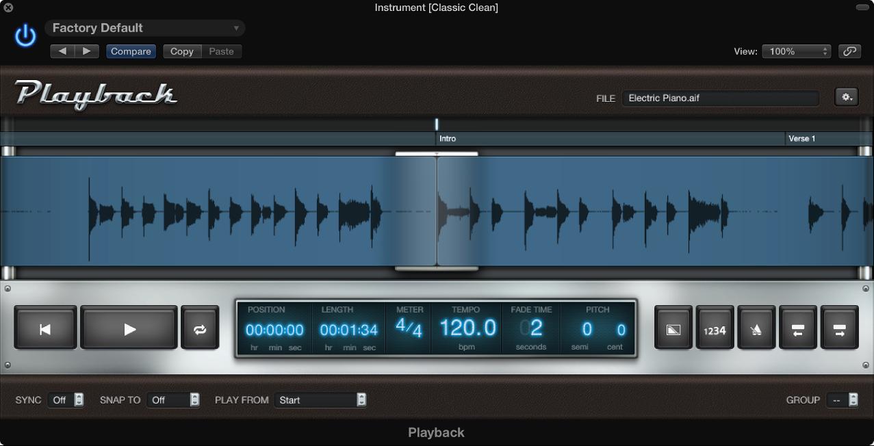 Figure. Playback plug-in showing waveform of audio file.
