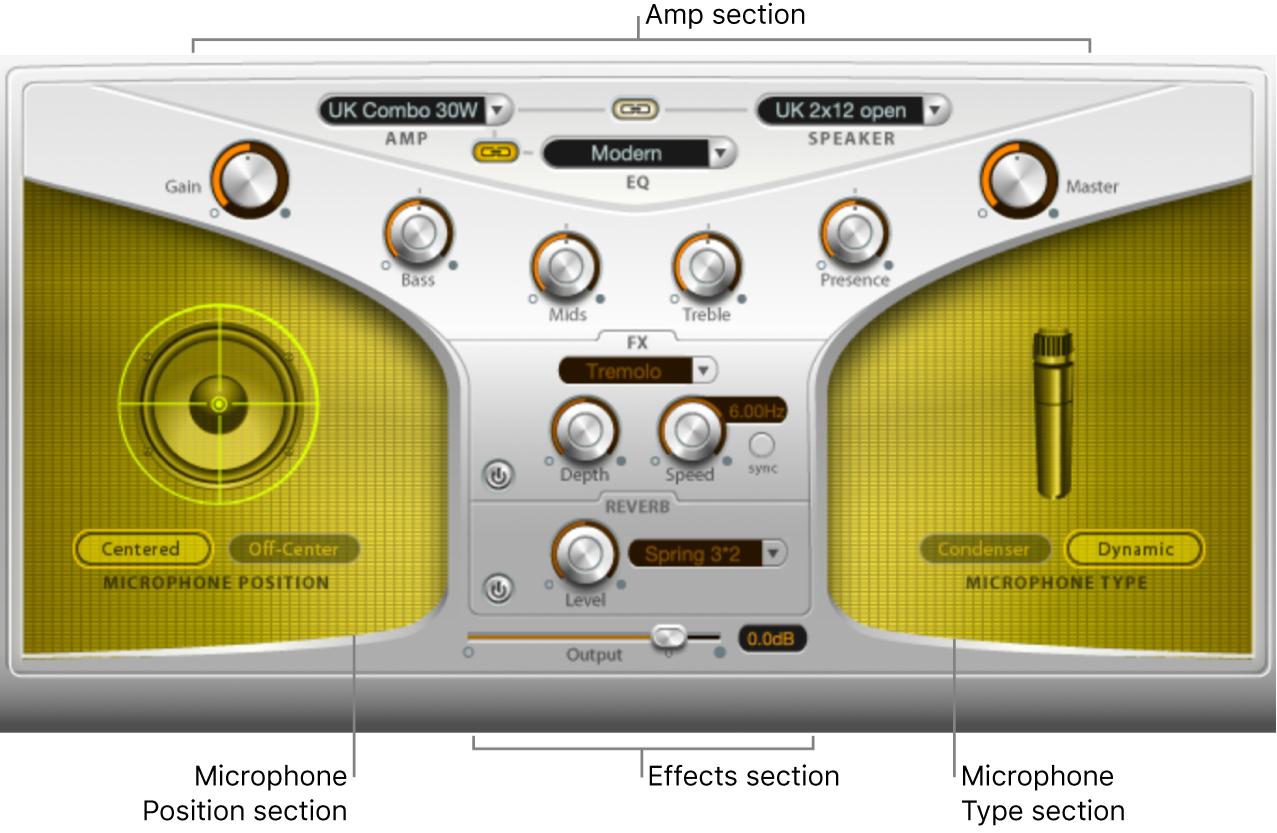 Figure. Guitar Amp Pro window, showing main interface areas.
