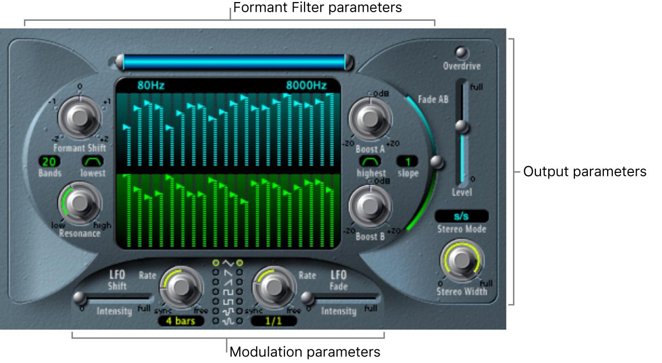 Figure. EVOC20 Filterbank window, showing main interface areas.