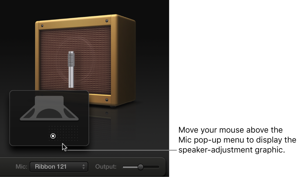 Figure. Microphone parameters, showing the cabinet and speaker adjustment graphic.