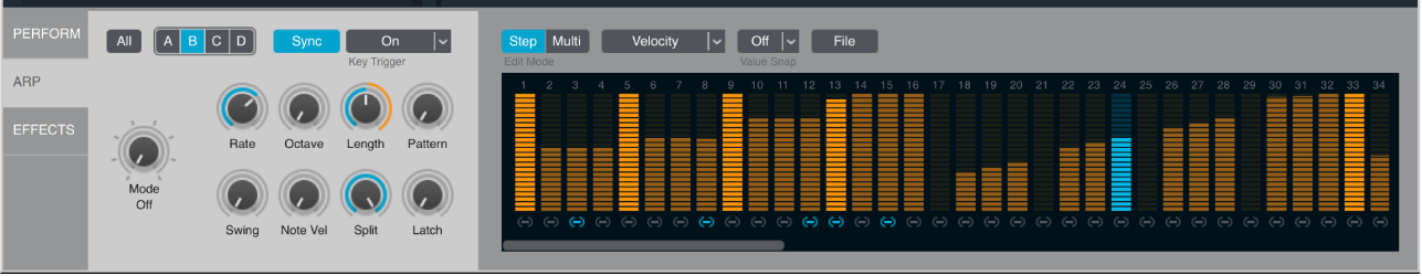 Figure. Arpeggiator section, showing all areas.