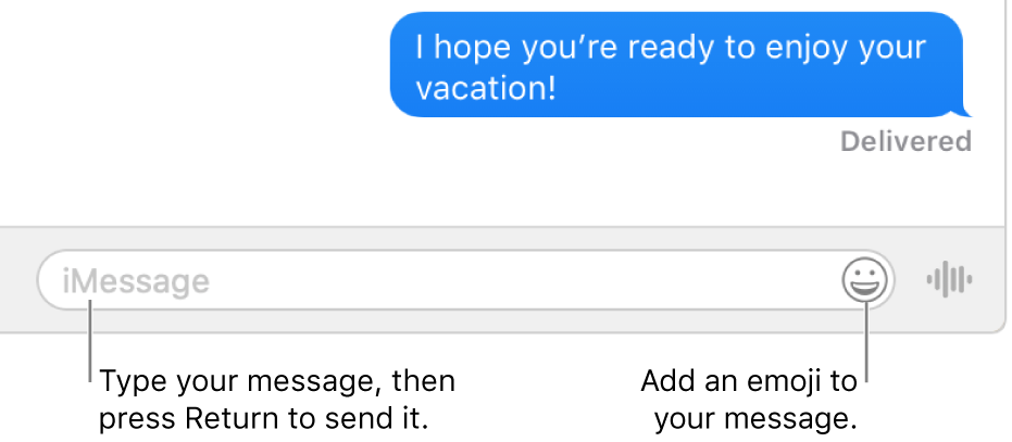 A conversation in the Messages window, with the text field showing at the bottom of the window.