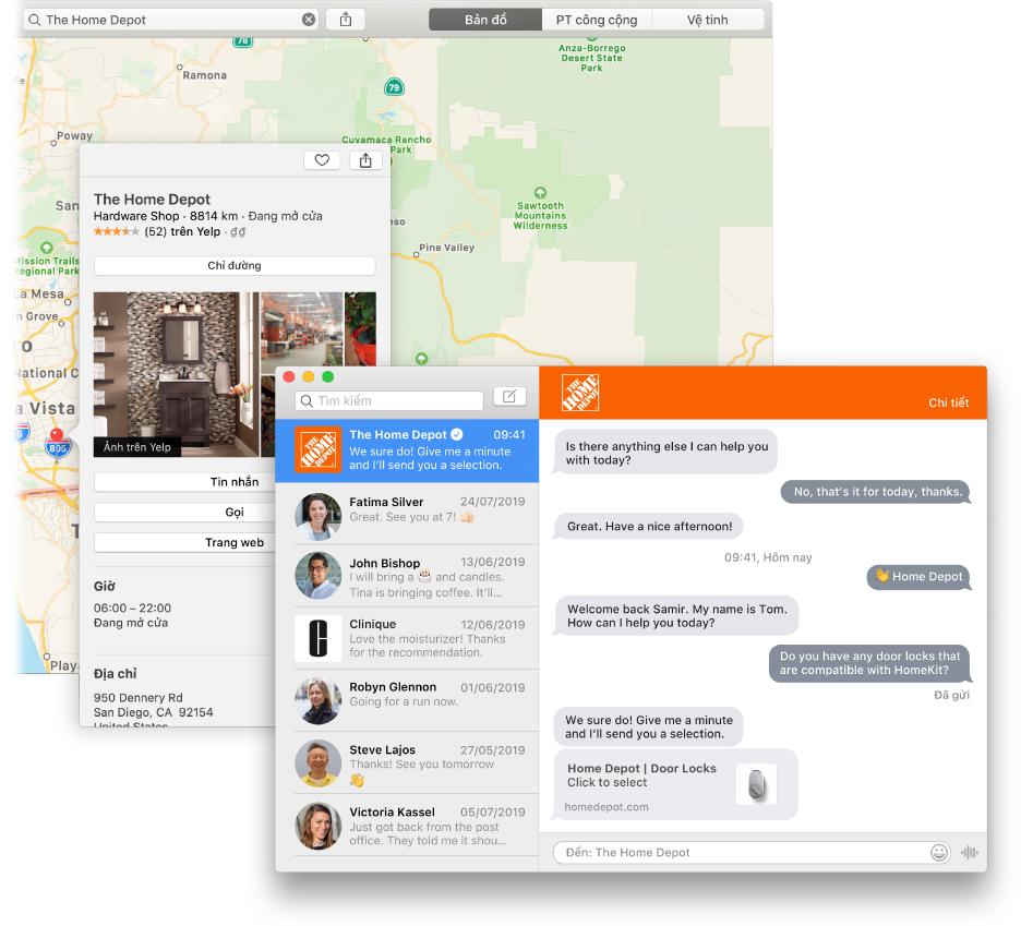 Một kết quả tìm kiếm trên Bản đồ cho doanh nghiệp sử dụng tính năng Trò chuyện với doanh nghiệp và cuộc hội thoại cuối cùng trong cửa sổ Tin nhắn.