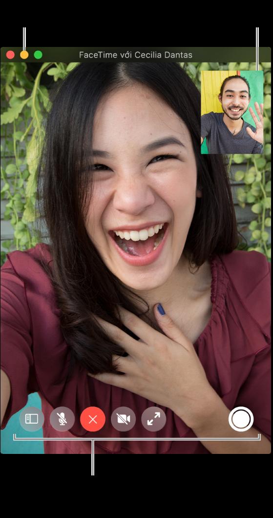 Di chuyển con trỏ lên trên cửa sổ FaceTime để xem các tùy chọn cuộc gọi như Thanh bên, Tắt tiếng, Kết thúc cuộc gọi, Tắt tiếng video, Toàn màn hình và Live Photo. Bấm vào nút giữa ở góc phía trên bên trái để ẩn cửa sổ cuộc gọi. Cửa sổ hình trong hình sẽ xuất hiện ở góc phía trên bên phải.