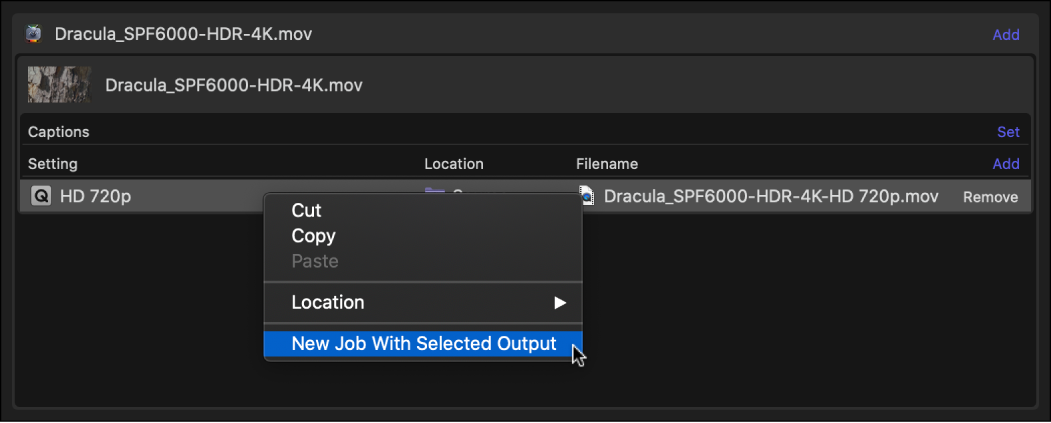 Batch area showing Job contextual menu