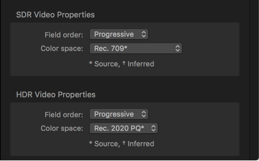 Job inspector showing separate Color space pop-up menus for the SDR source video and the HDR source video.
