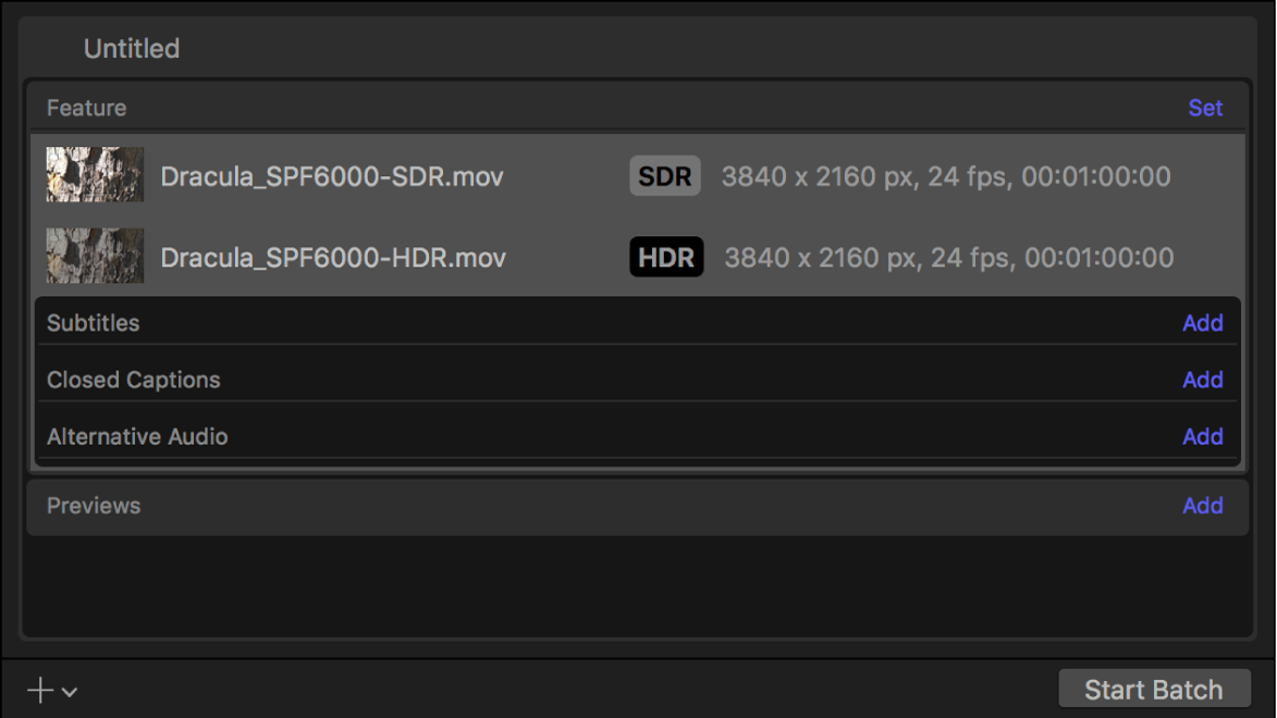 Batch area showing output rows for SDR video and HDR video.