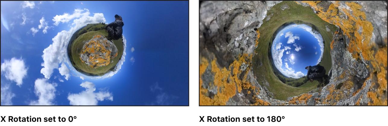 """Canvas mit einem Vergleich des Effekts bei den Einstellungen """"0"""" und """"175"""" für den Rotationsparameter """"X"""""""
