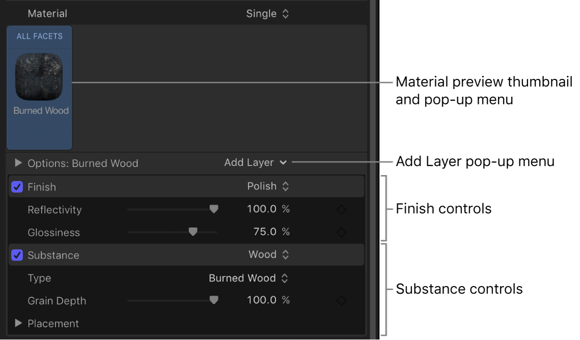 3D-Textinformationsfenster mit Material mit mehreren Ebenen