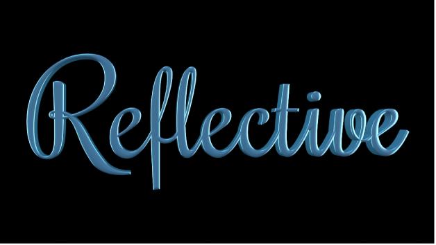 """3D-Text im Canvas mit angewendeter Ebene """"Reflektierende Farbe"""""""