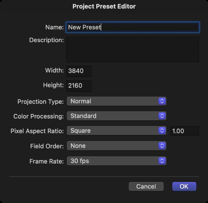 Editor für Projektvoreinstellungen