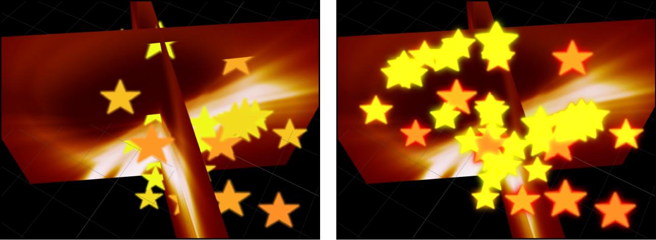 Canvas mit den Auswirkungen der Rasterung auf 3D-Partikel