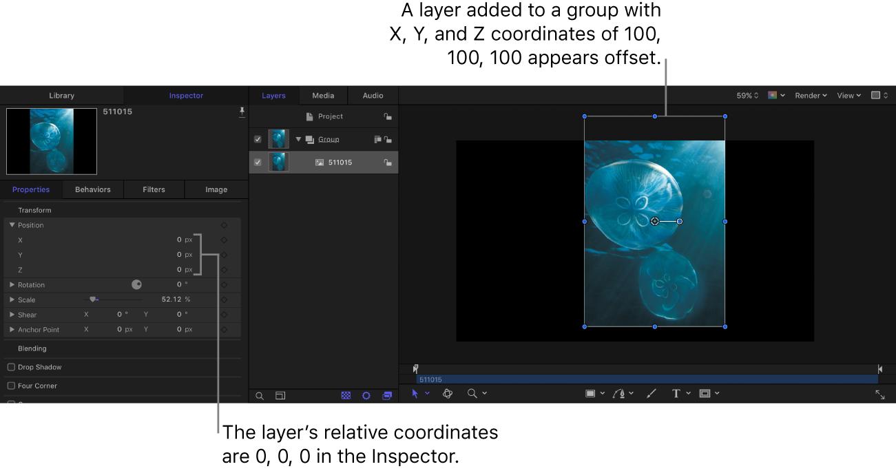 """Canvas und Informationsfenster """"Eigenschaften"""" mit einer Ebene, die in der Gruppe mit folgenden Koordinaten platziert wurde: X-, Y- und Z-Koordinaten 100, 100, 100; die Ebenenkoordinaten lauten allerdings 0, 0, 0"""