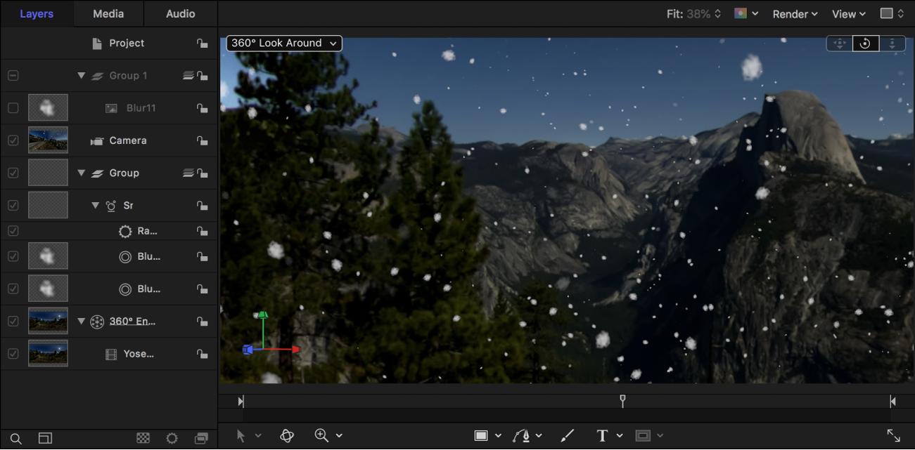 In einer 360°-Szene integrierten Schneepartikel