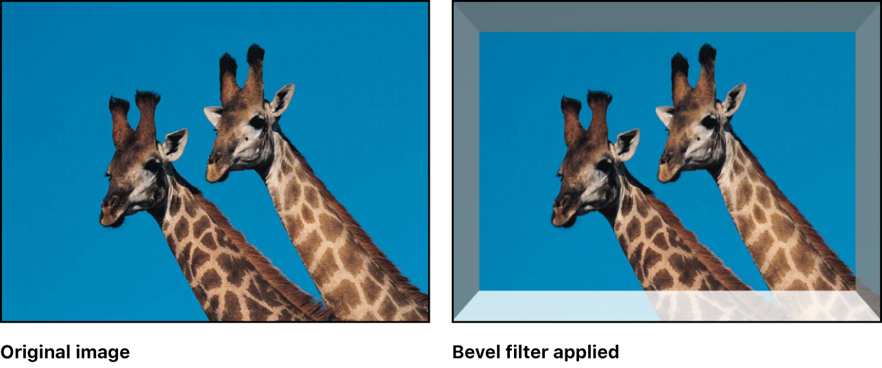 """Canvas-Fenster, das den Effekt des Filters """"Schräge"""" zeigt"""